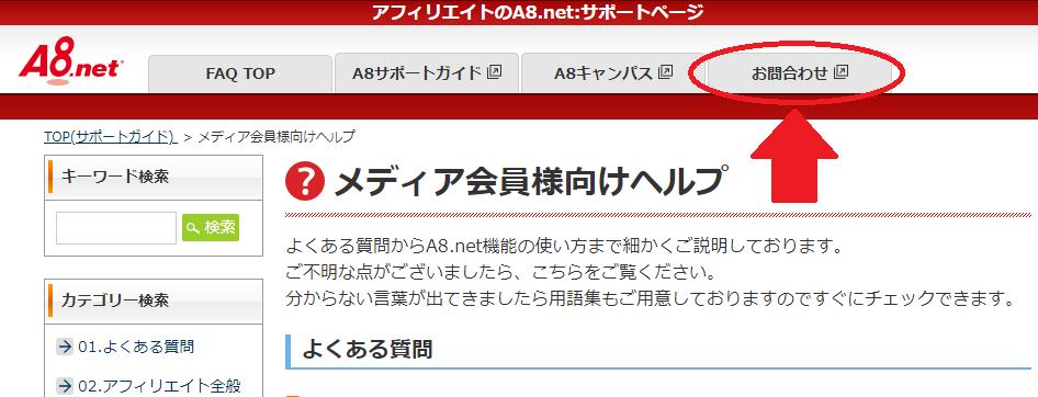 A8.netへ問い合わせる方法